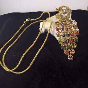 Jewelry - Peacock Multi Colored Dangle Pendant